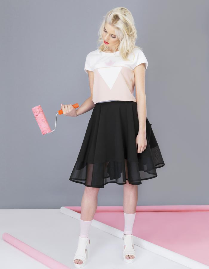pink strawberry crop top and bittersweet dark chocolate flared skirt