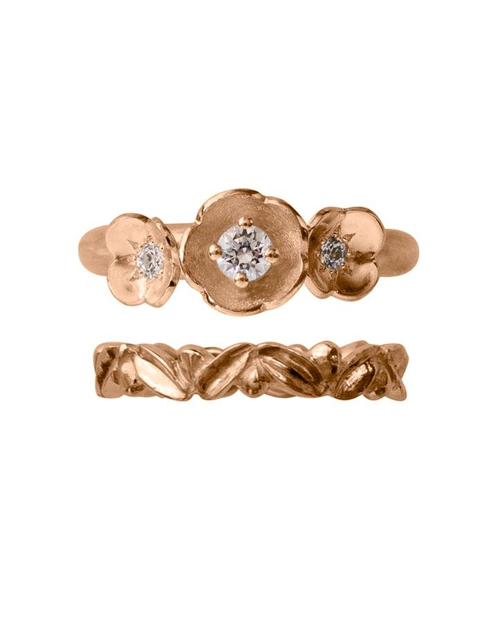 Rose gold and diamond floral inspired wedding set