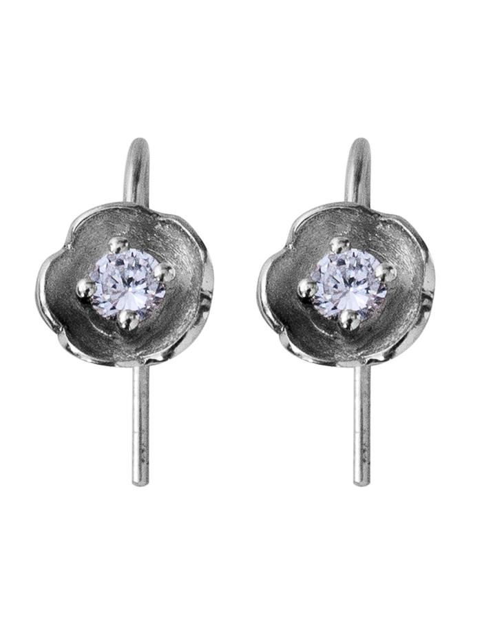 White gold diamond floral inspired drop earrings