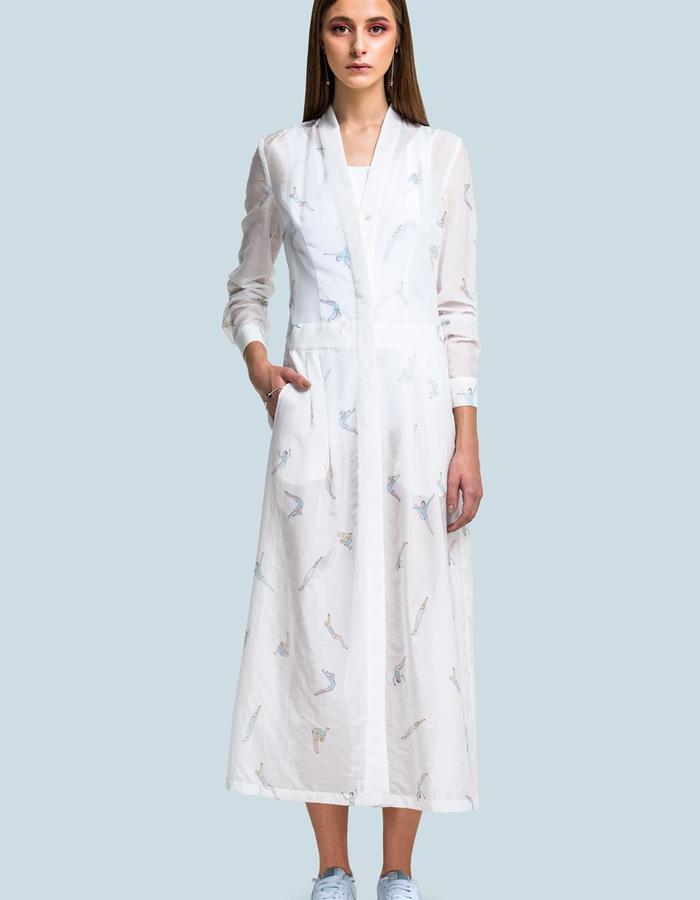 Cotton transparent wrapper dress