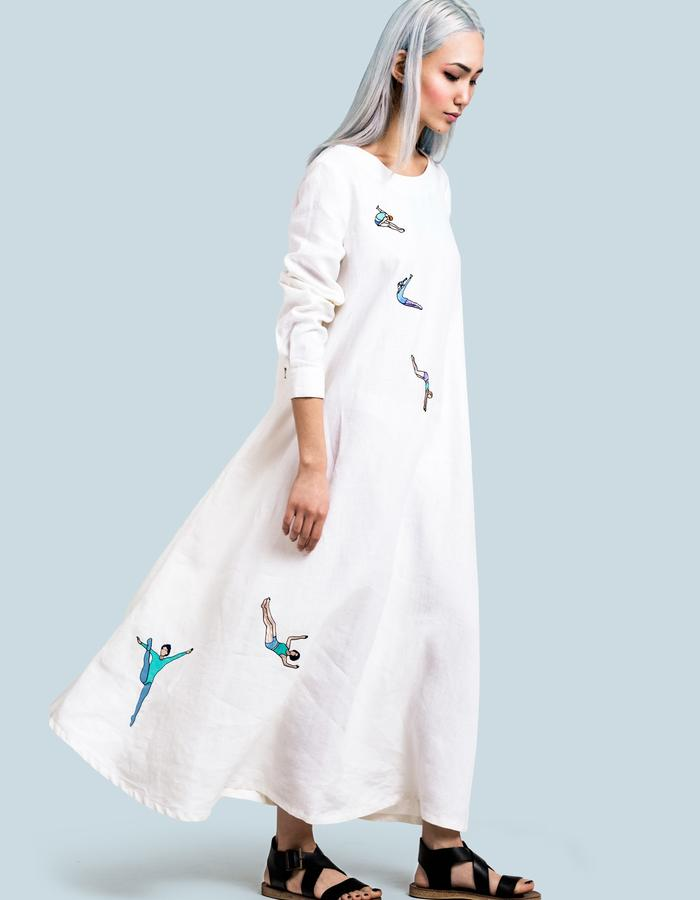 Milky-white linen dress with gymnast embroidery