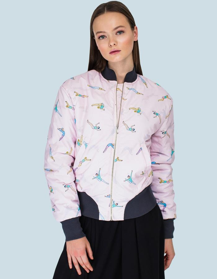 Printed pink gymnast bomber by FINCH