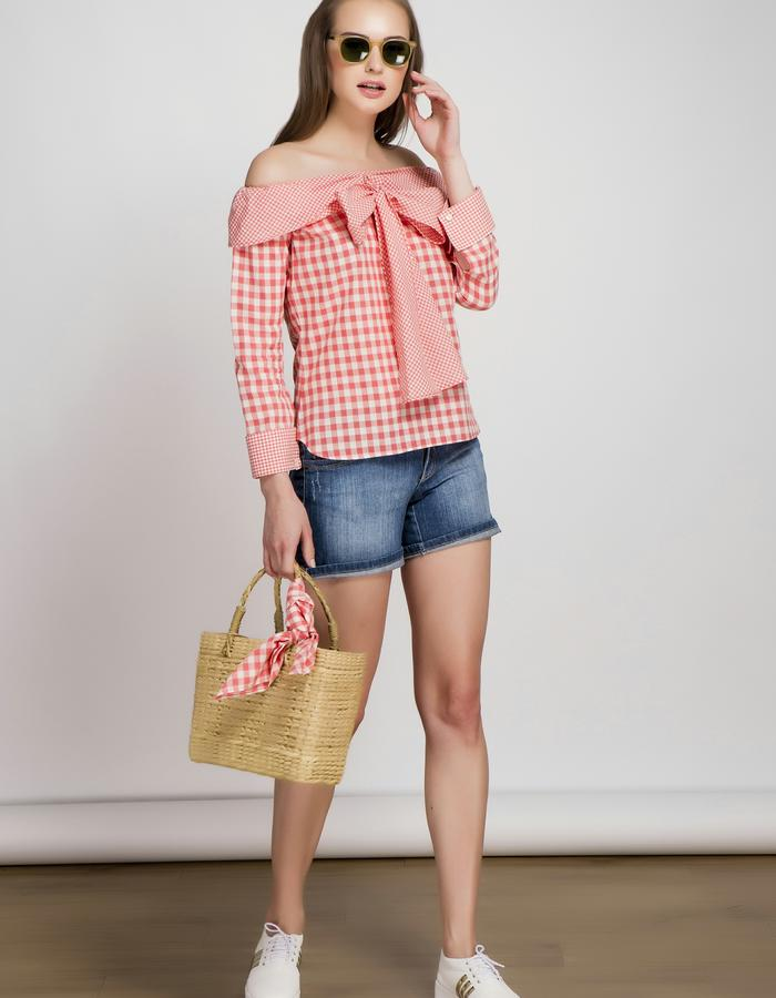 Coral Off Shoulder Bow Tie Top