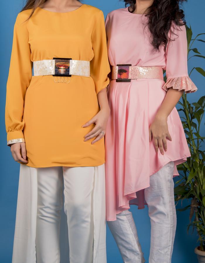 Pant flap skirt & hand painted belts