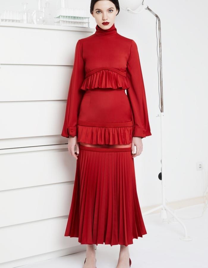 Triple Goddess red dress