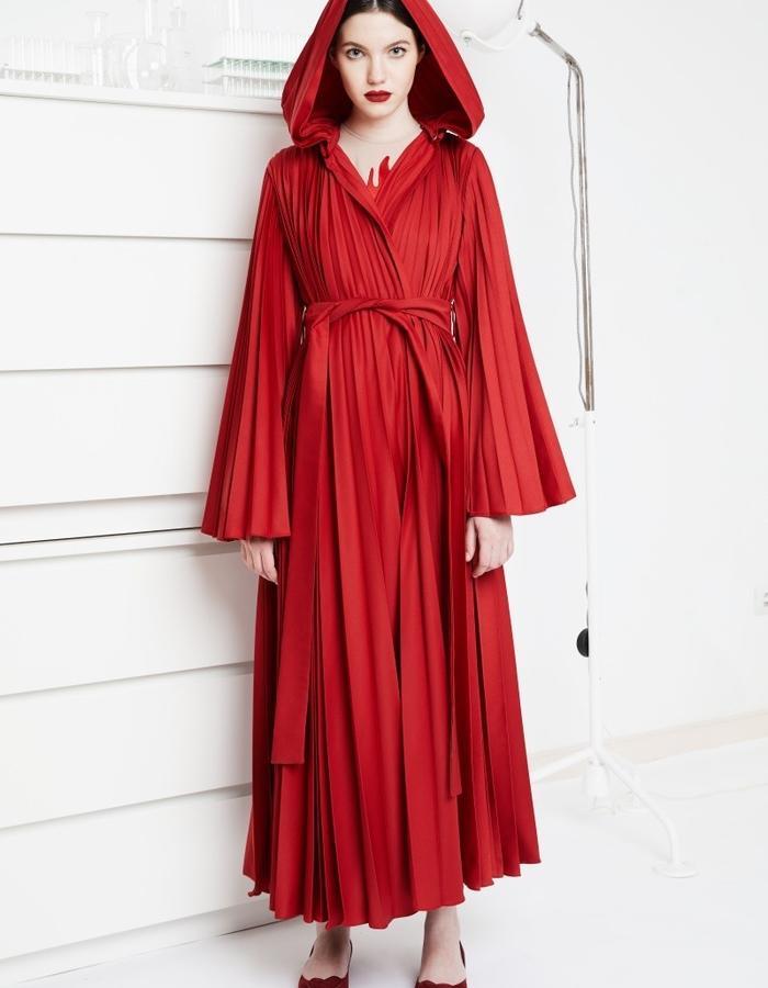 Red Jasper pleated robe dress with detachable hood