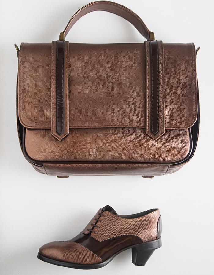Dali Bag - Varnish leather and cloth lining