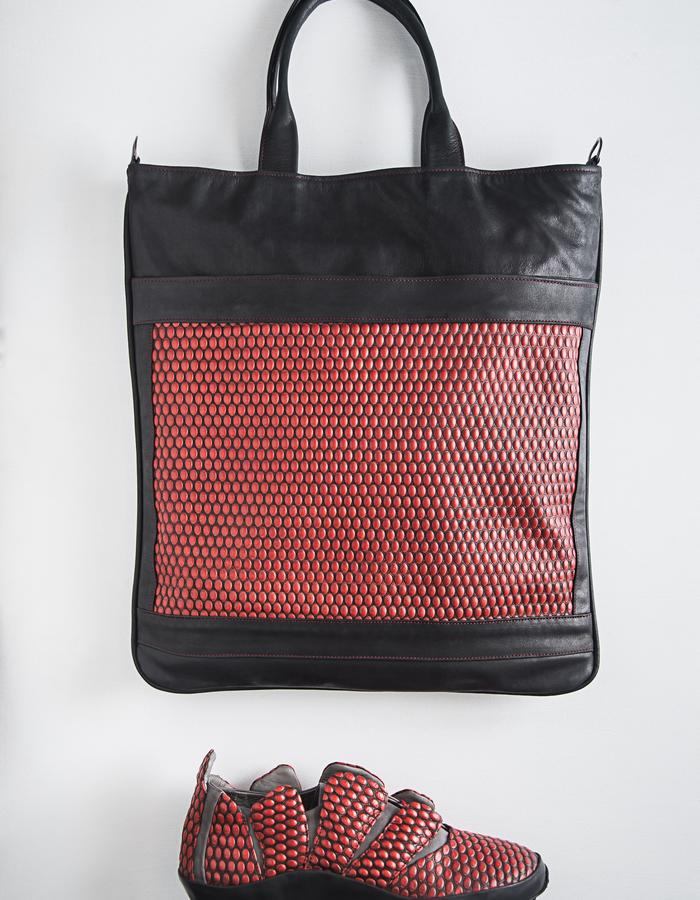 ENKI tote bag - leather and cloth lining