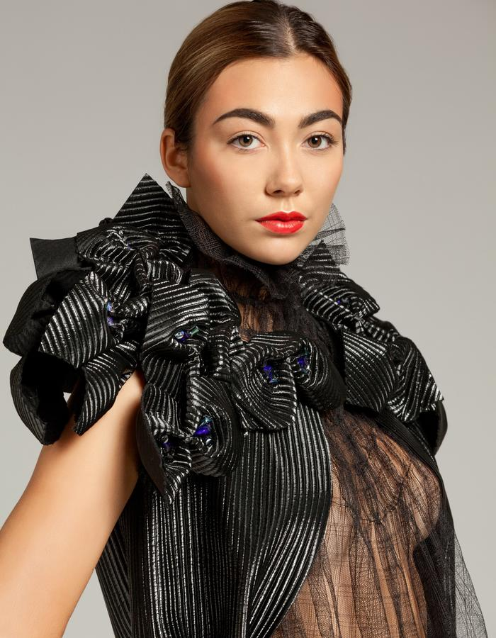 """Unique piece - """"NEMESIA"""" SIMON ALBO Couture Collection 2018. © SIMON ALBO Black quilted polyester jacket lined with floral epaulettes of blue crystal electric pearls cereals. Skirt """"spacer"""" black and cobalt.simon albo creative fashion designer costumier haute couture luxe mode transparent"""