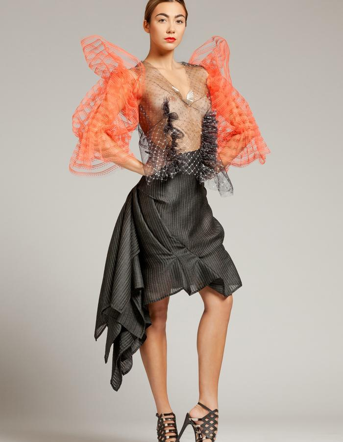 """Unique piece - """"NEMESIA"""" SIMON ALBO Couture Collection 2018. © SIMON ALBO Black and silver fishnet tulle blouse, embroidered with crystalline tubular pearls, enhanced with salmon tulle sleeves. Draped skirt in polyester with black stripes.simon albo creative fashion designer costumier haute couture luxe mode embroidery transparent"""
