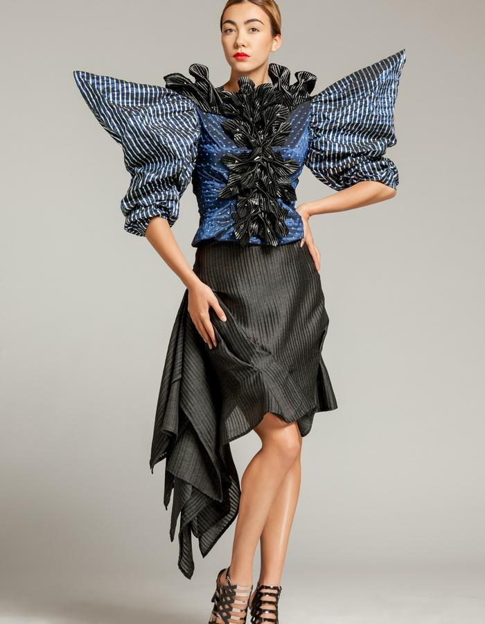 """Unique piece - """"NEMESIA"""" SIMON ALBO Couture Collection 2018. © SIMON ALBO Butterfly sleeve blouse in royal blue silk woven with silver lurex, plastron stitched with black quilted satin flowers embroidered with silver crystal beads. Draped skirt in polyester with black stripes.simon albo creative fashion designer costumier haute couture luxe mode blue vest blackembroidery"""