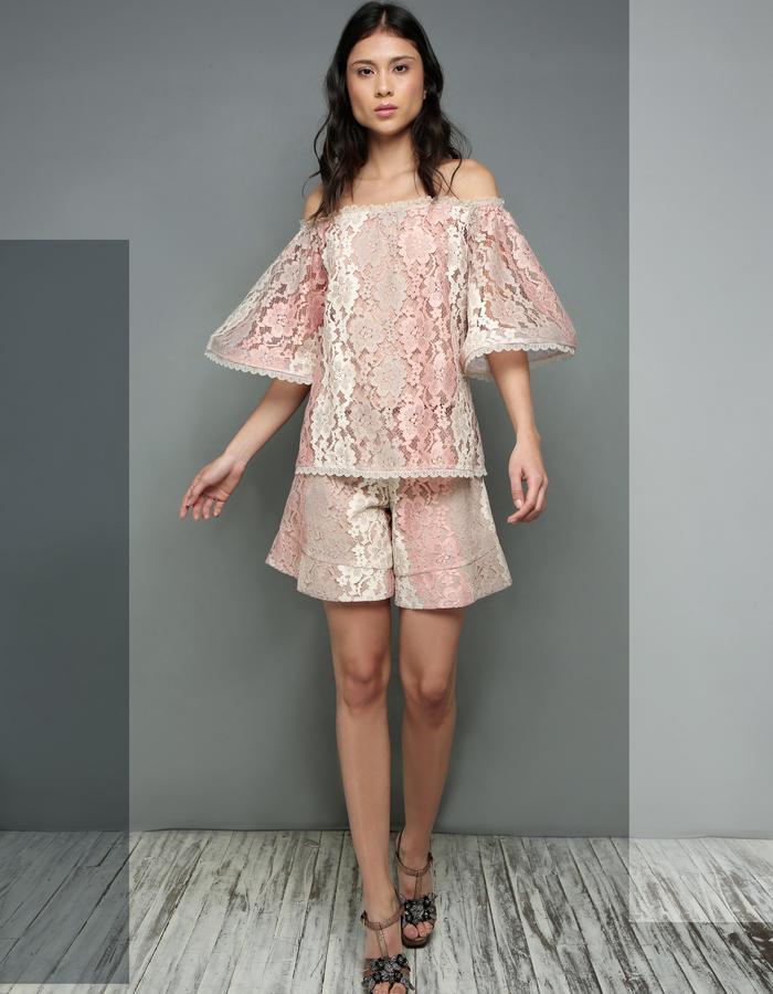 Baleares Lace Blouse & Boldlace Shorts