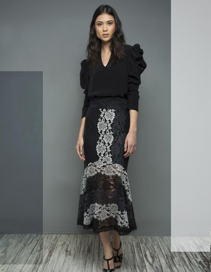 Black Bodice Bodysuit & Versailles Lace Skirt