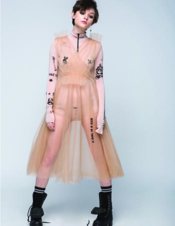 Tattoosweaters beige mesh dress and bodysuit