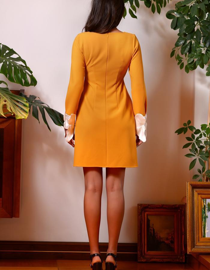The Orange Tip Dress (High Waisted Mini Dress with Silk Cuffs)