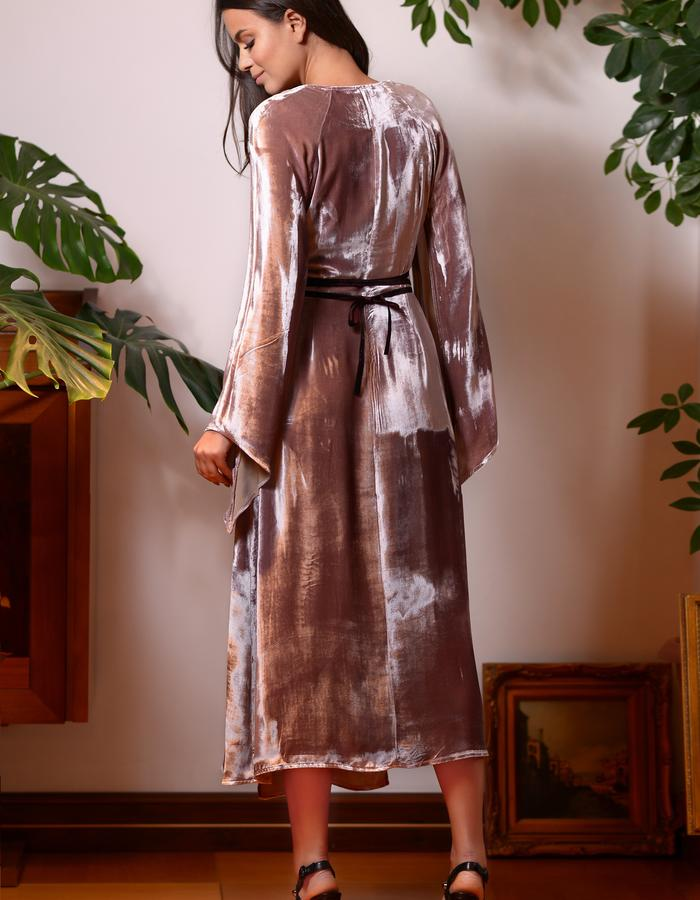 Chestnut Heath Dress (Silk Velvet Wrap Dress)