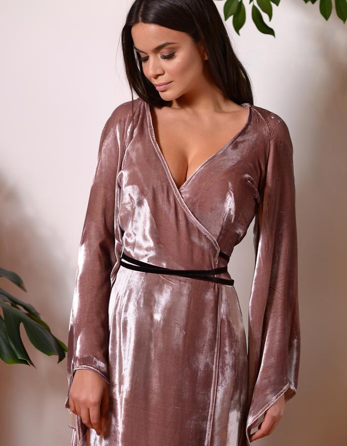 Chestnut Heath Dress (Silk Velvet Wrap Dress) - detail