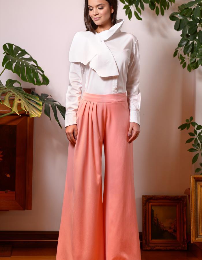 Butterfly Shirt (White Poplin Shirt with Butterfly) & Comma Pants (Wide Leg Wool Pants)