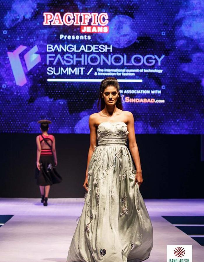 LED embedded gown with hand embroidery