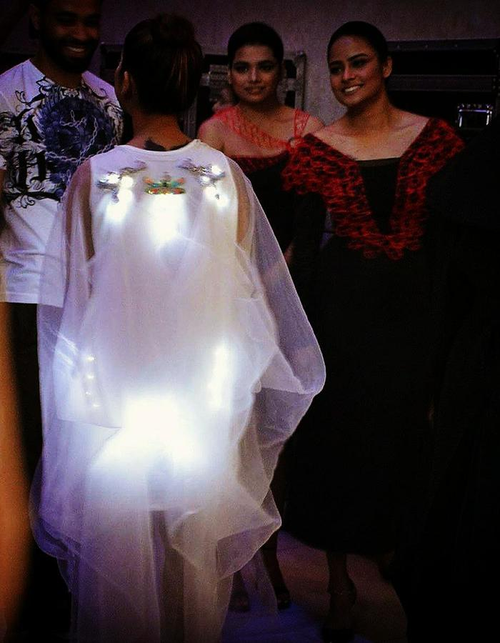 LED embedded Draped dress with hand embroidery
