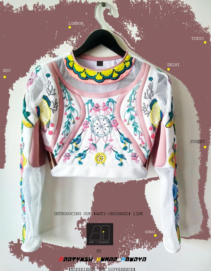 FRONT: HAND EMBROIDERED CROP TOP