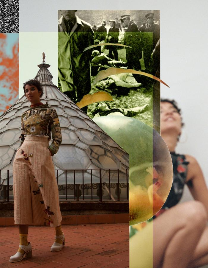 "LOOK 2-""IN ANOTHER WORLD"" SCREENED COLLAGE SHIRT AND BUTTERFLY CULOTTES"