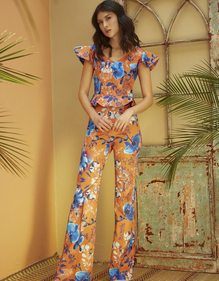 Blue Orchids Crop Top & Pants