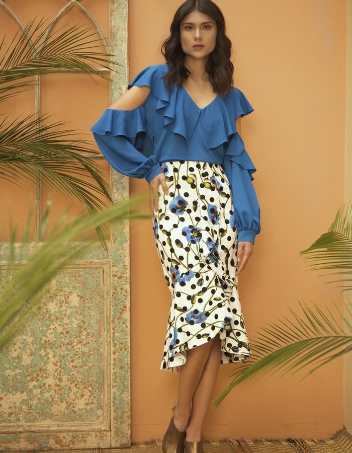 Marroqui Silk Blouse & Dot Dot Skirt