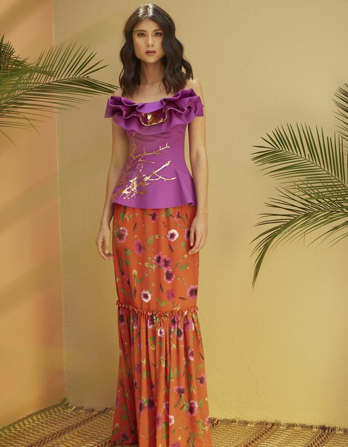 Caledonia Cotton Foil Bustier & Petunia Campesina Skirt