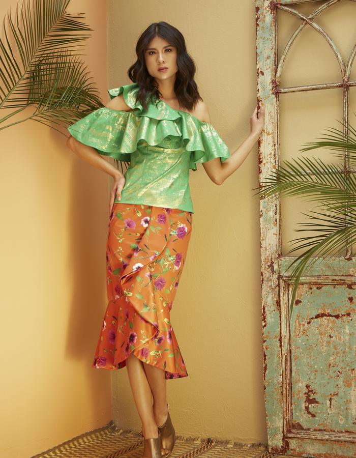Vicentine Cotton Foil Blouse & Petunia Bolero Skirt