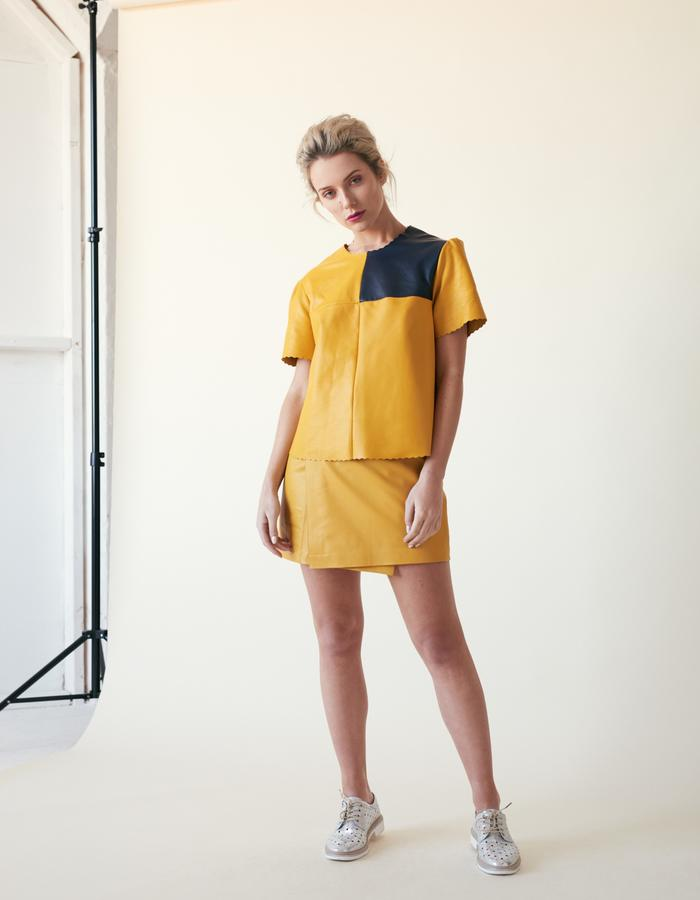 Manley /// Parker Leather Tee & Parker Mini Skirt