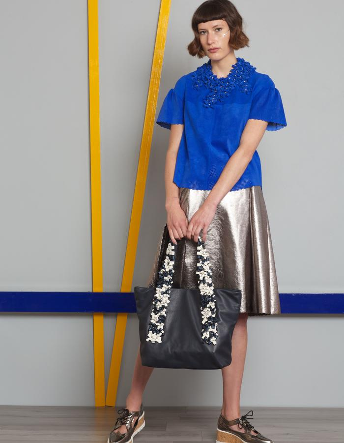 Manley AW16 /// Theo Tee, Harper Metallic Skirt, Boxter Collar & Harper Tote Bag