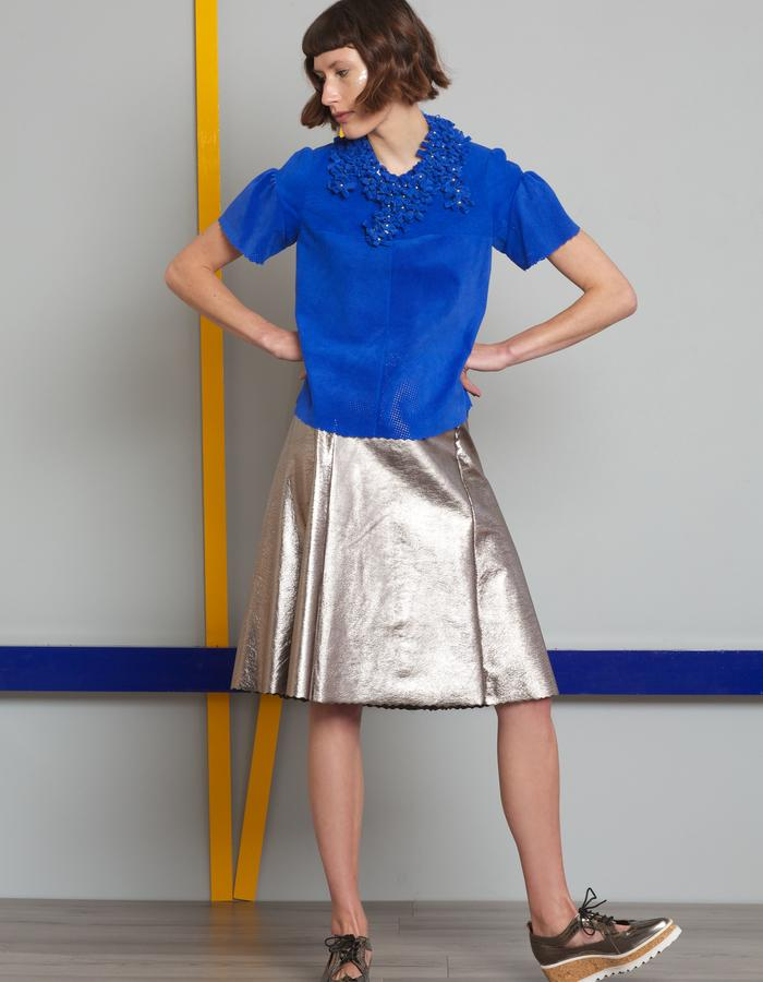 Manley AW16 /// Theo Tee, Boxter Collar & Harper Metallic Skirt