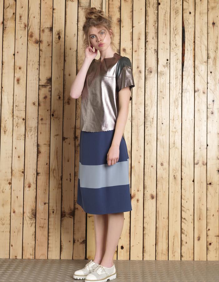 Manley SS16 /// Cara Leather Tee & Lana Skirt