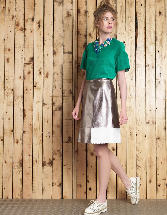 Manley SS16 /// Cara Leather Tee & Boxter Skirt