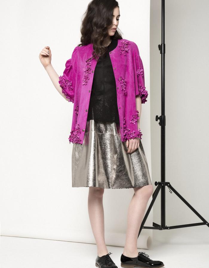 Manley AW15 /// Maya Leather Tee, Maya Bow Coat & Lexi Bubble Skirt