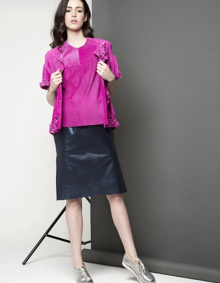 Manley AW15 ///  Maya Leather Tee, Maya Bow Coat & Maya Metallic Skirt