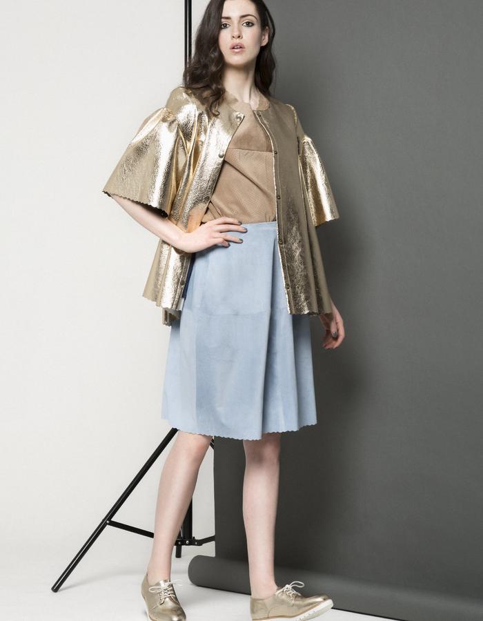Manley AW15 ///  Maya Leather Tee, Maya Coat & Lexi Skirt