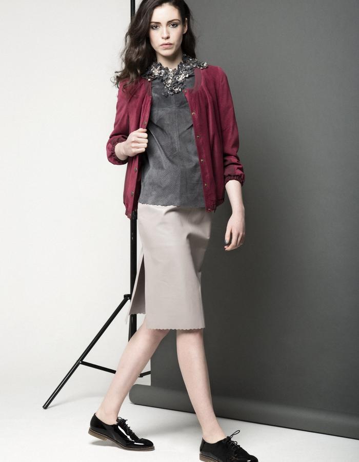 Manley AW15 ///  Maya leather Tee, Maya Skirt & Carly Bomber