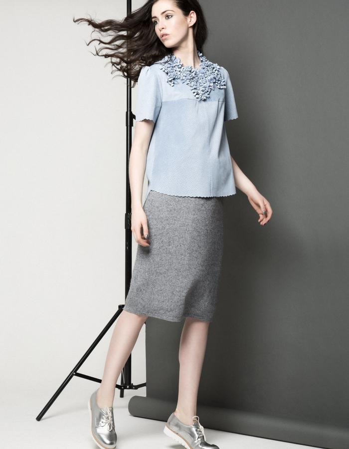 Manley AW15 ///  Maya Leather Tee, Maya Collar & Robin Skirt