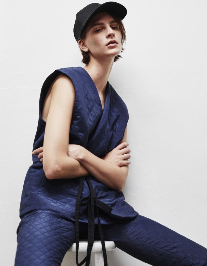 2WN SPRING SUMMER 2018 TOMBOY QUILTED PANTS AND VEST GENTLEWOMAN MADE IN USA 2WN SPRING SUMMER 2018 JACQUARD OVERSIZE SHIRT GENTLEWOMAN MADE IN USA (#2WN #2WNWEAR #2WNSTYLE)