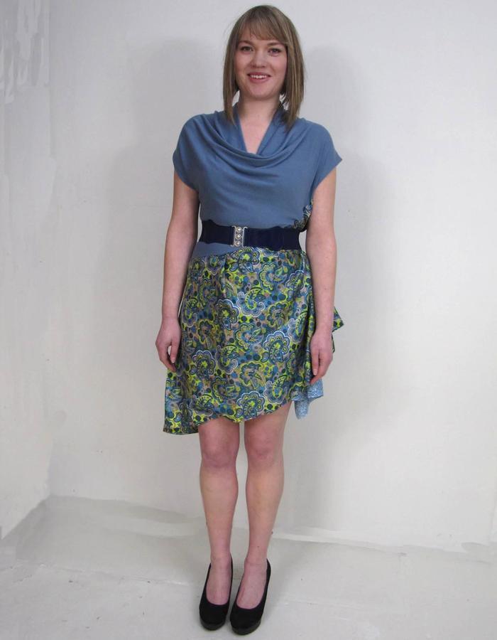 Offcut merino, silk dress