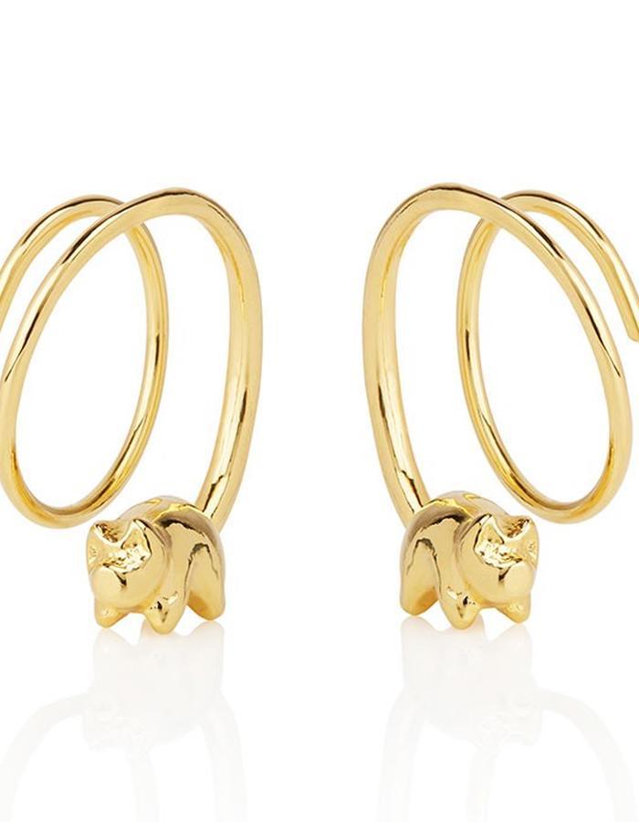Happy Piglet Earrings - Gold