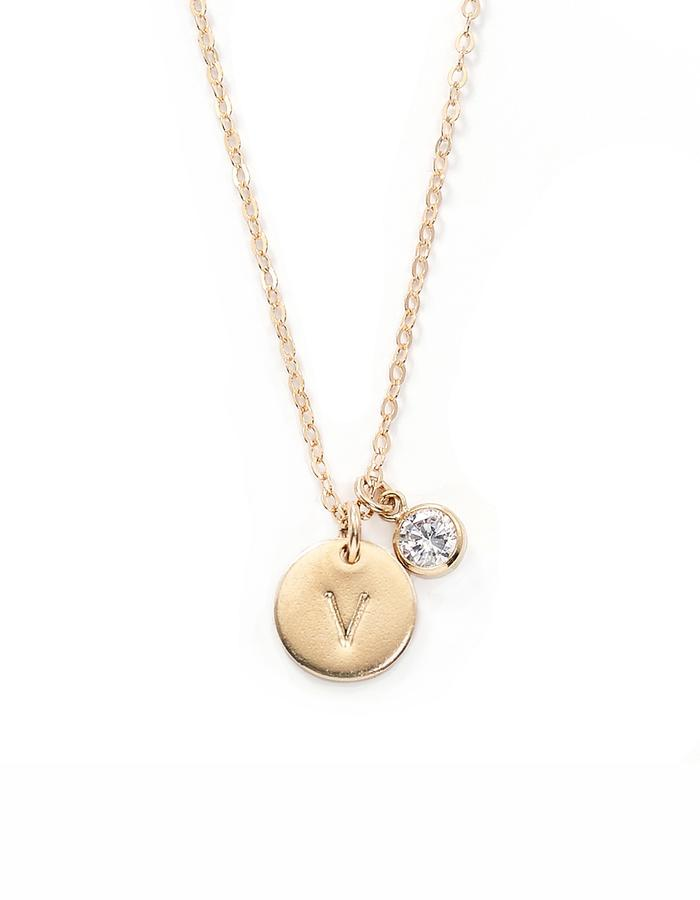 DIAMOND, gold filled necklace with letter