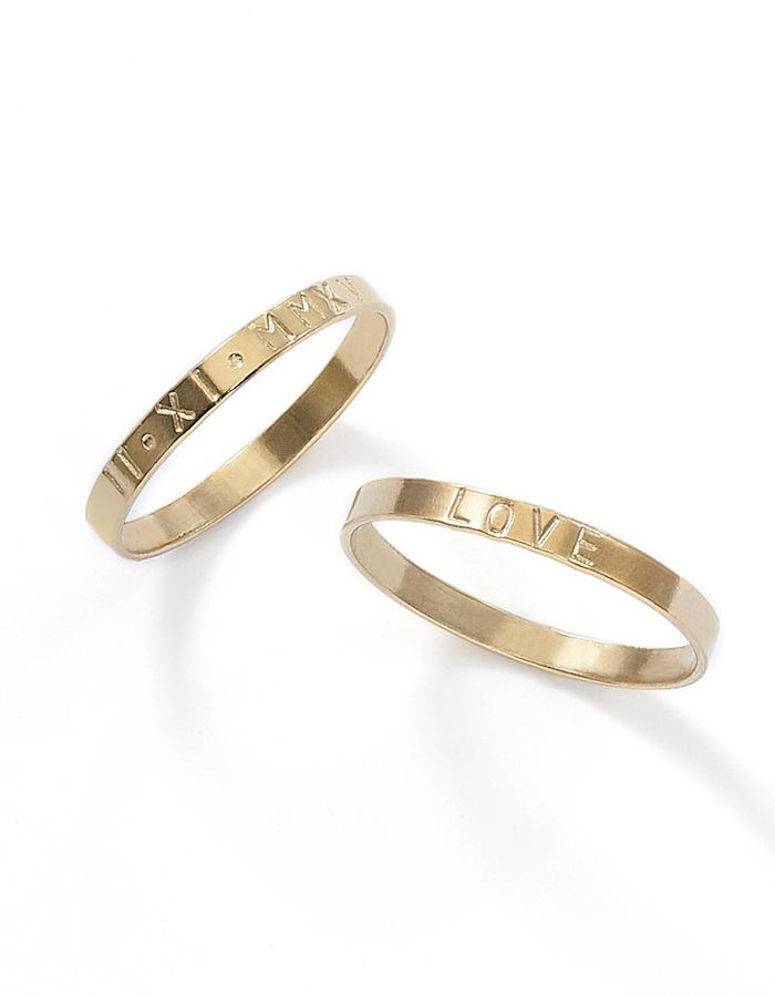 LIFE, gold filled ring with symbols or letters