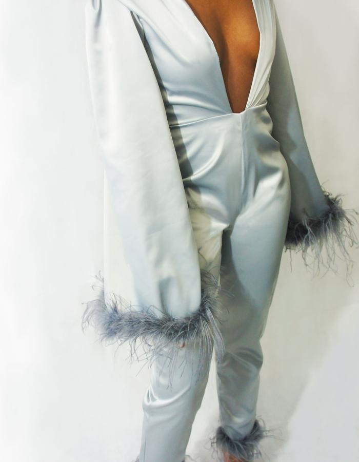OSTRICH FEATHER CATSUIT