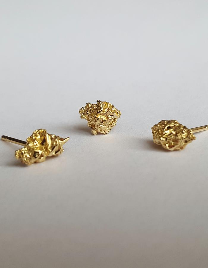 18K Yellow Gold Stud Earrings, Set of 3