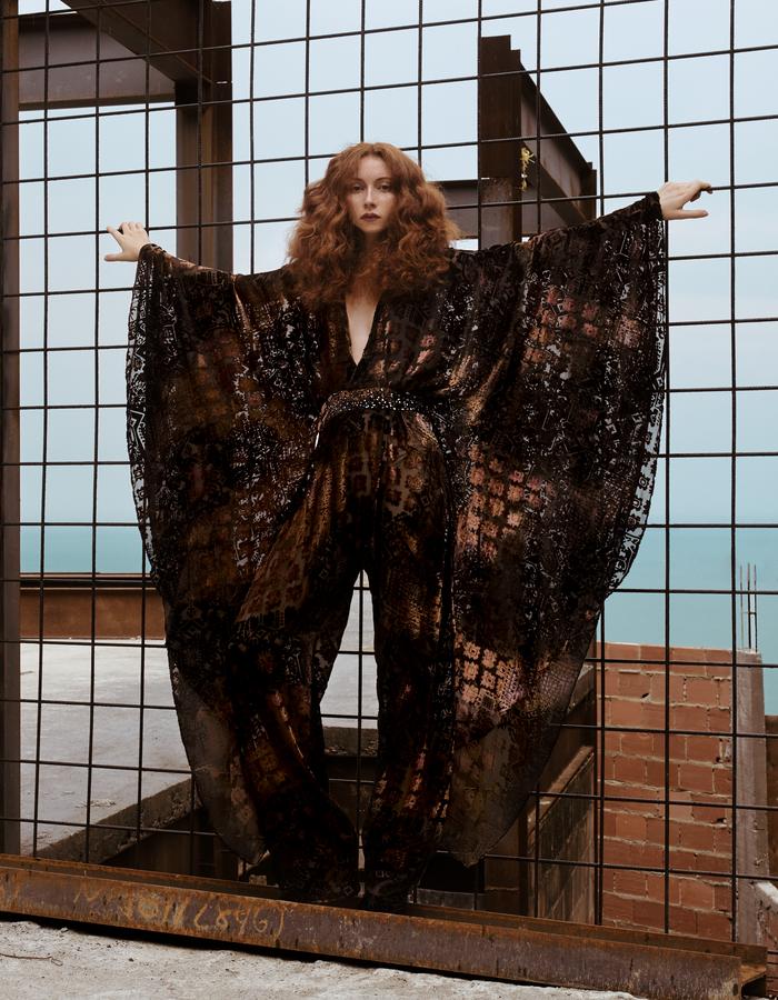 KARINE FOUVRY DEVORÉ SILK JUMPER, PHOTO BY CLAUDIO CARPI