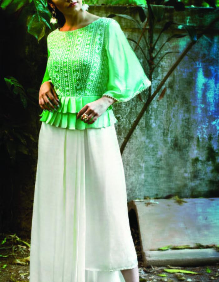 Kiwi Caipirinha- Asymmetric pleated maxi dress
