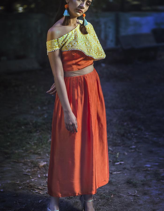 Skirt crop top attached Medi Dress